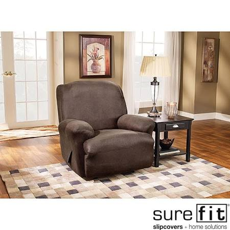 Sure Fit Brown Stretch Faux Leather Recliner