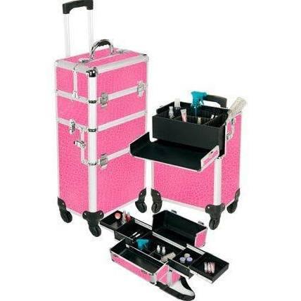 Seya Pro Aluminum Makeup Case Pink 4 Wheeled