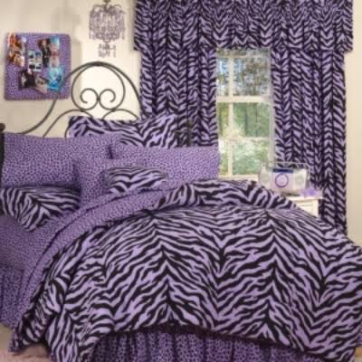 Purple and Black Twin Zebra Print Bed