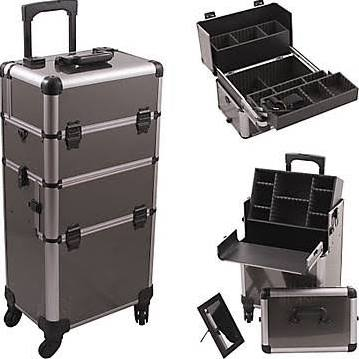 Gun Metal Pro 4-Wheel Makeup Case