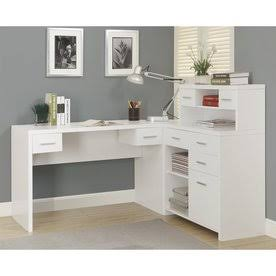 White Hollow-Core L Shaped Home Office