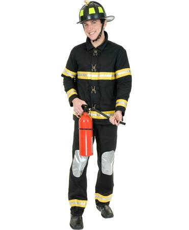 Adult Medium 40-42 Black Firefighter Fireman