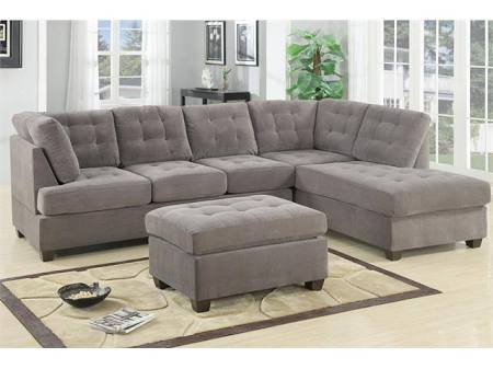 Poundex Bobkona Suede Sofa Color Grey