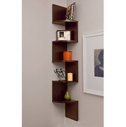 DanyaB Corner Zig Zag Wall Shelf Walnut