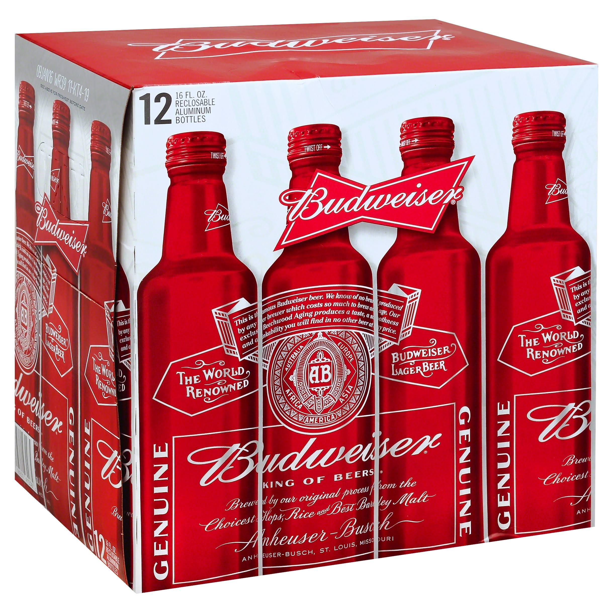 Budweiser Beer, Lager - 12 pack, 16 fl oz bottles