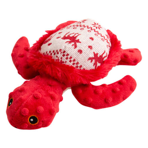 Snugarooz Pet Plush Red Ugly Sweater Print 10'' Holly The Turtle Pet Toy One-Size