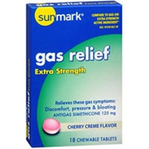 Sunmark Gas Relief - Extra Strength, Cherry Creme Flavor, 18 Chewable Tablets