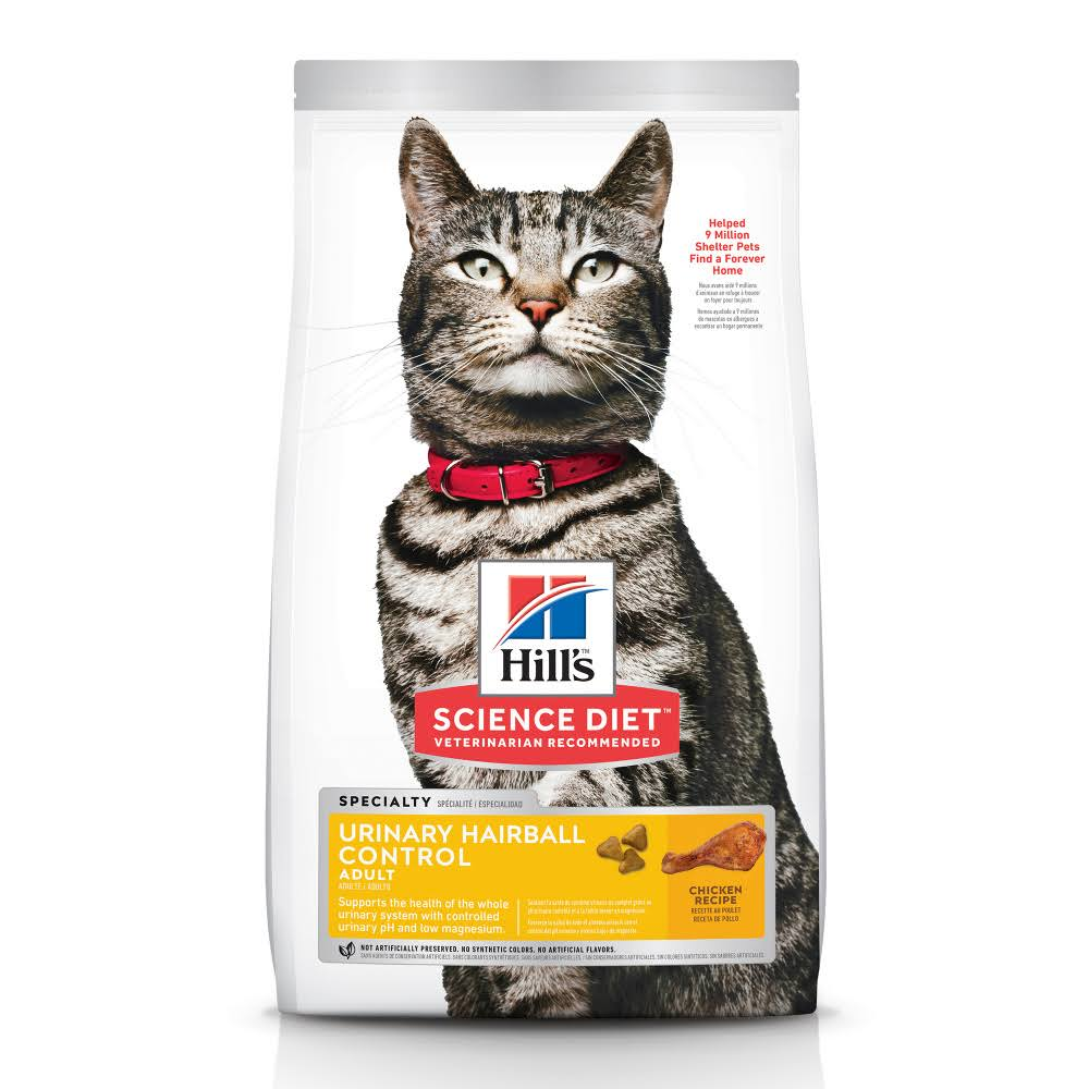 Hill's Science Diet Adult Urinary Hairball Control Premium Natural Cat Food - Chicken Recipe, 15.5lbs