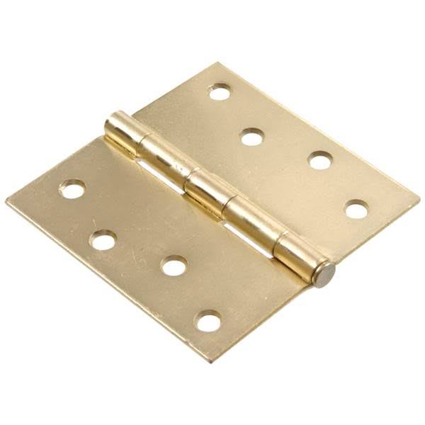 Hillman Square Corner Door Hinge - Satin Brass, 4""