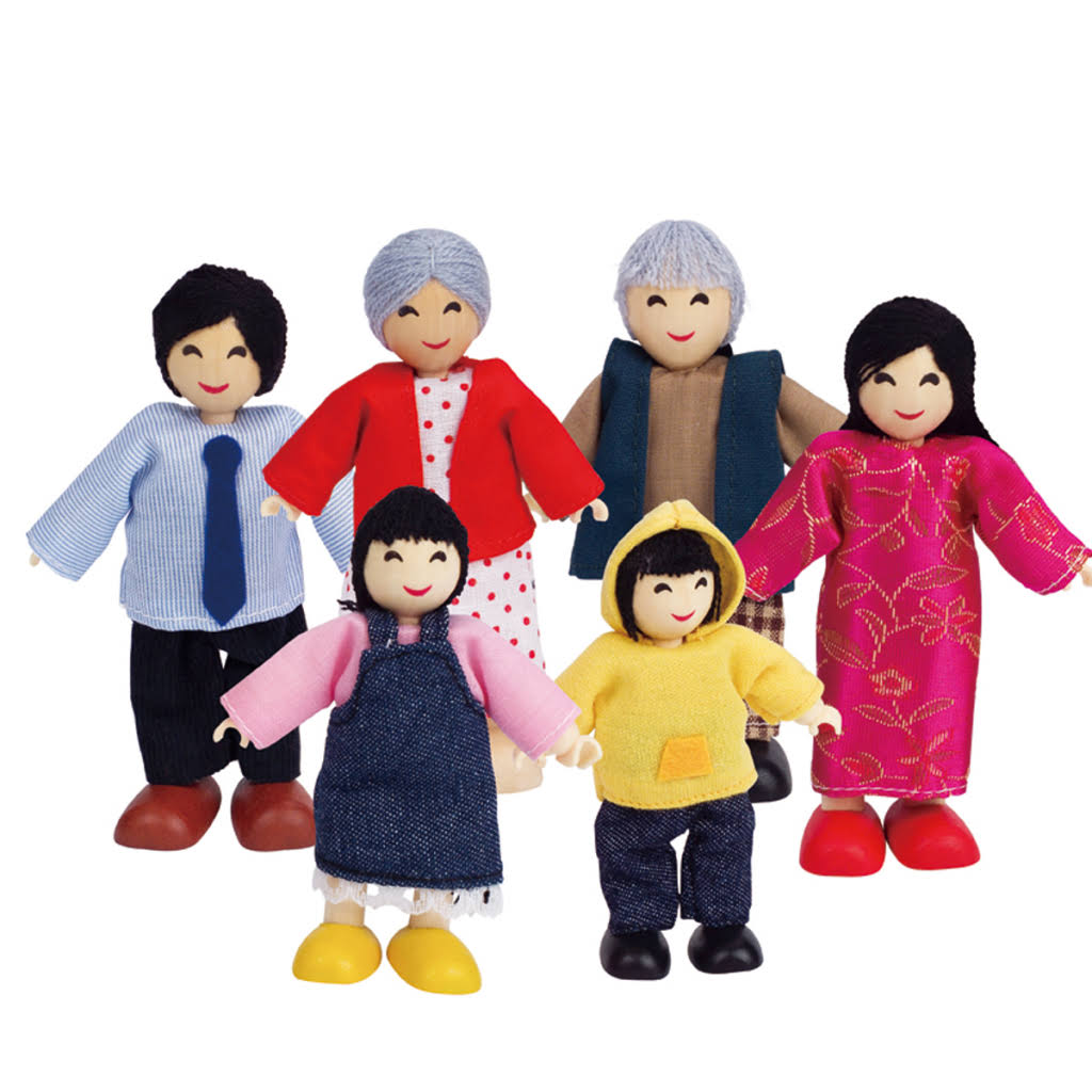 Hape Asian Wooden Doll House Family Set - 6 Count