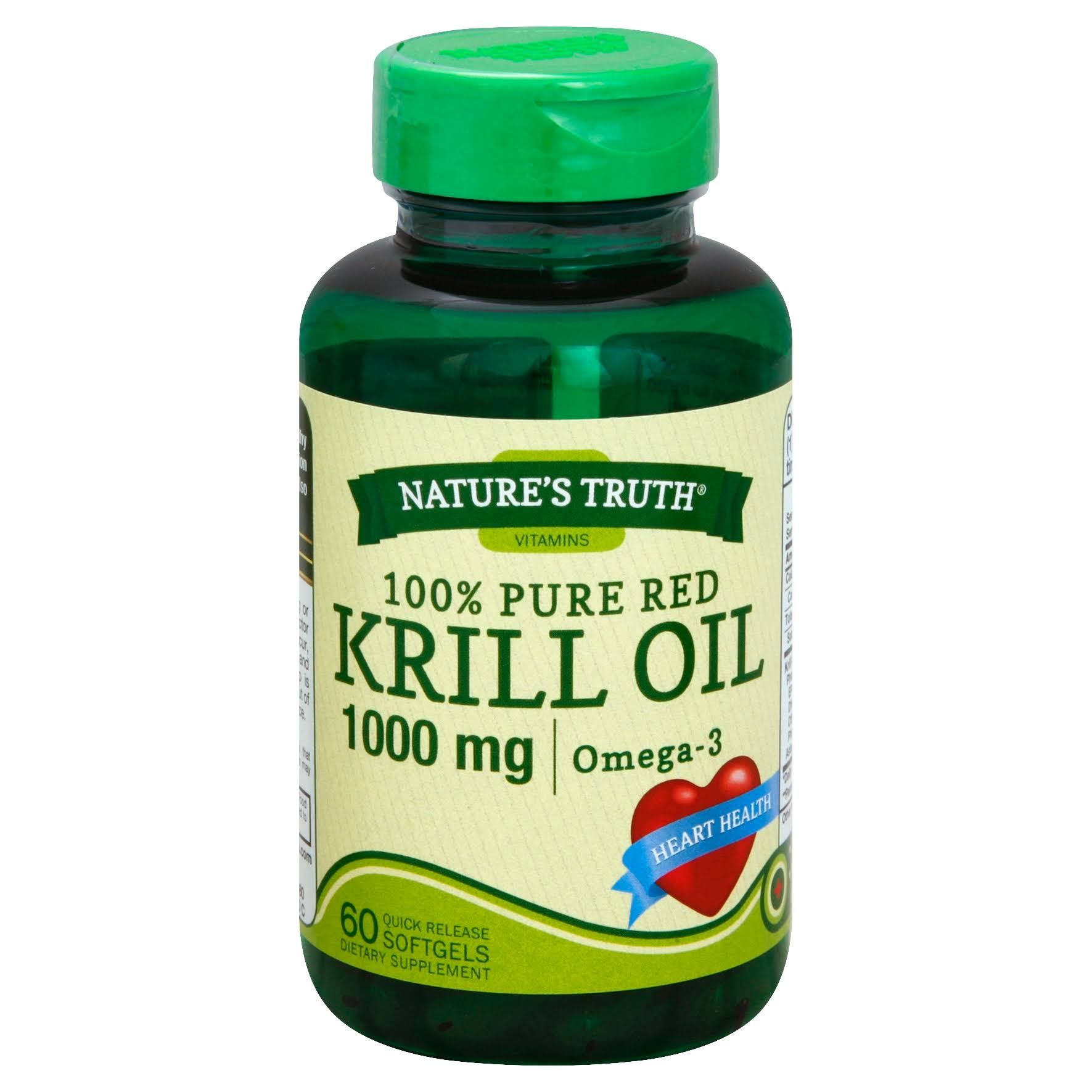 Natures Truth 100% Pure Red Krill Oil Dietary Supplement - 1000mg, 60 Quick-Release Softgels