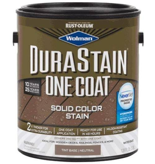 Wolman 288073 DuraStain One Coat Solid Stain, Gallon, Neutral Base