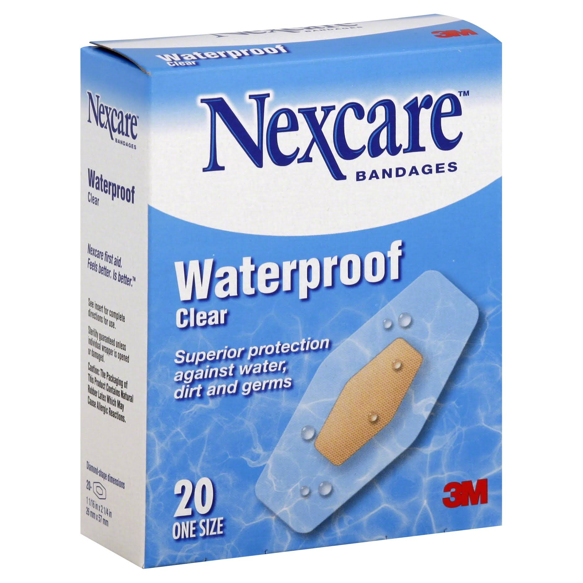 3M Nexcare Waterproof Bandages - Clear, x20