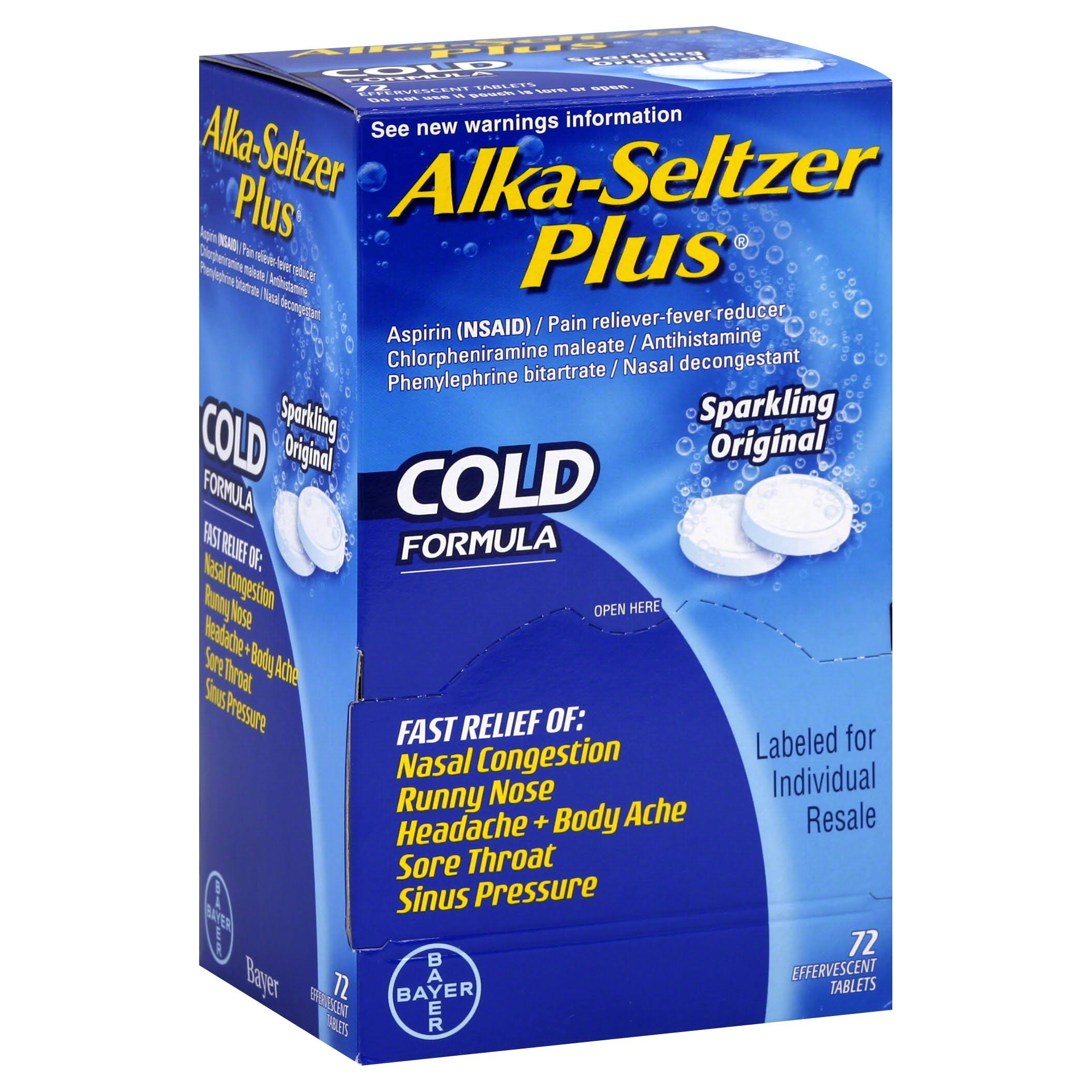 Alka Seltzer Plus Cold - 72ct