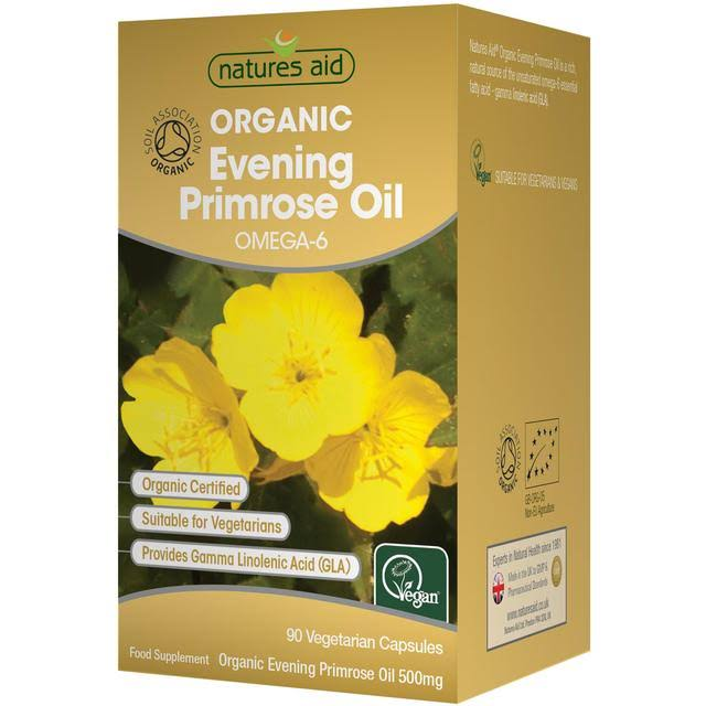 Natures Aid Organic Evening Primrose Oil - Omega-6, 90 Capsules