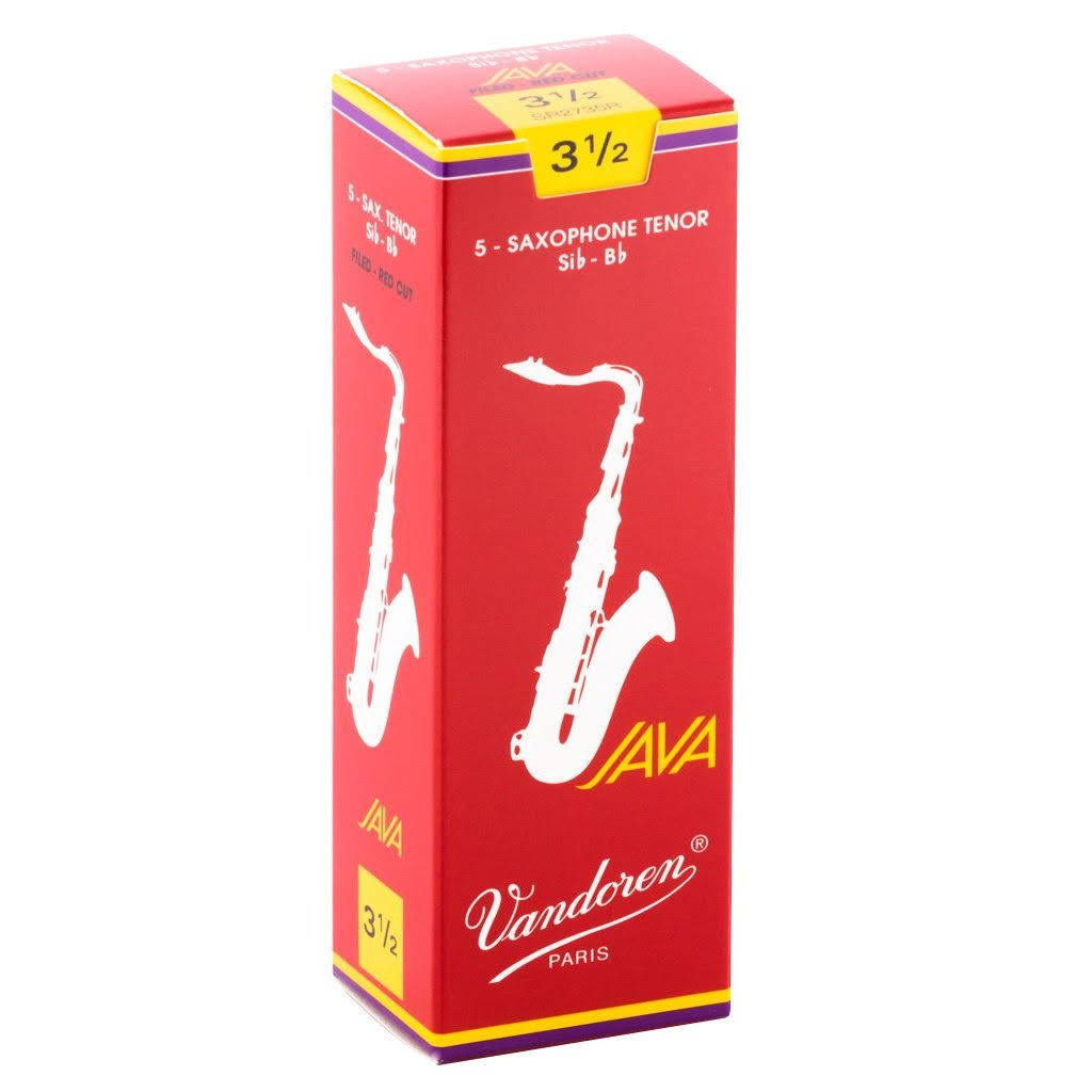 Vandoren Java Red Tenor Sax Reeds - Strength #3.5, Box of 5