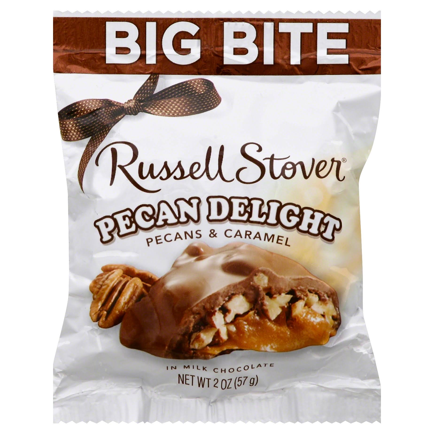 Russell Stover Pecan Delight Candy - Pecan & Caramel, 57g