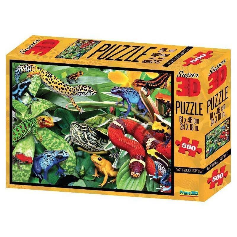 Super 3D Lenticular Dart Frogs and Reptiles Jigsaw Puzzle 500 Piece