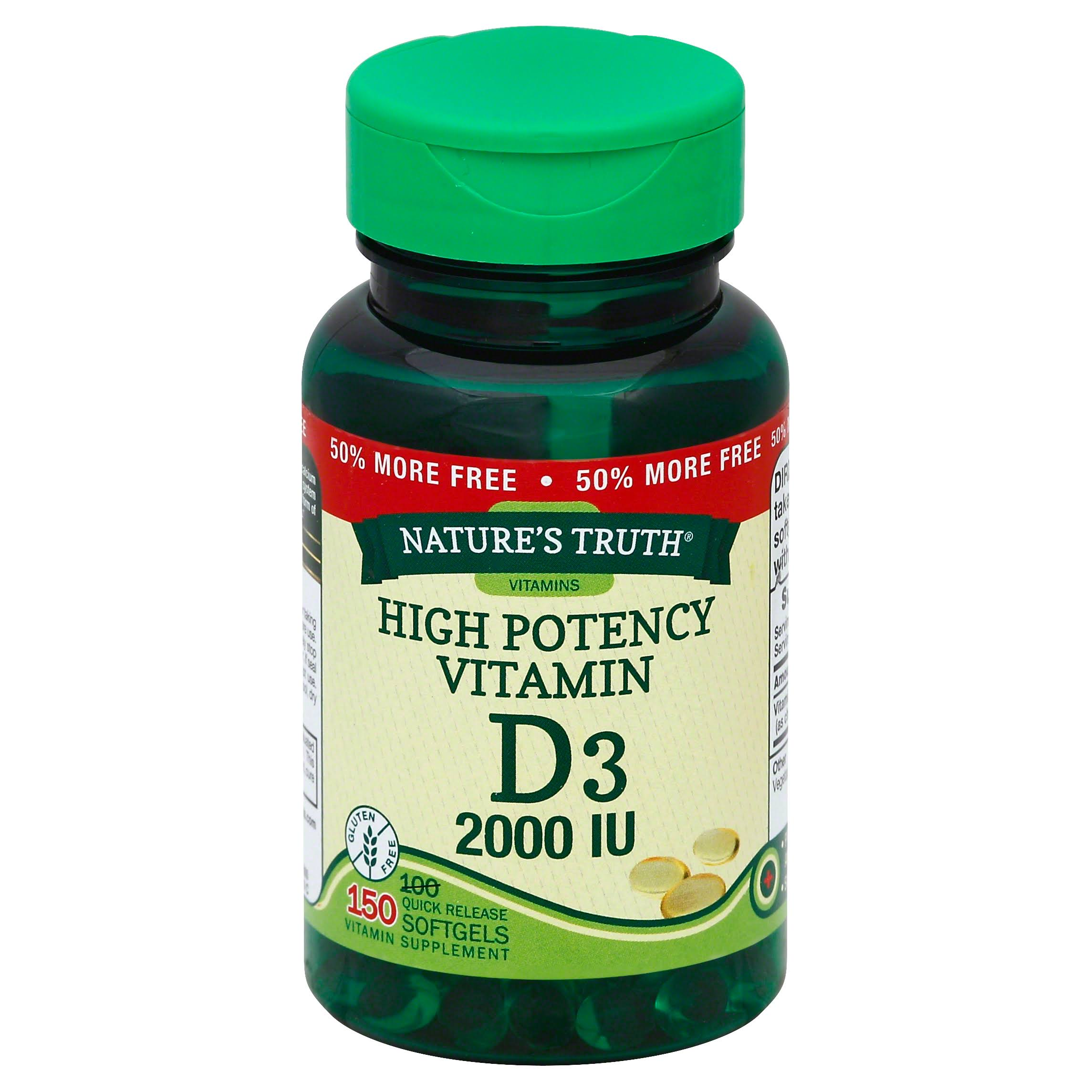 Nature's Truth High Potency Vitamin D3 Softgels - 150ct