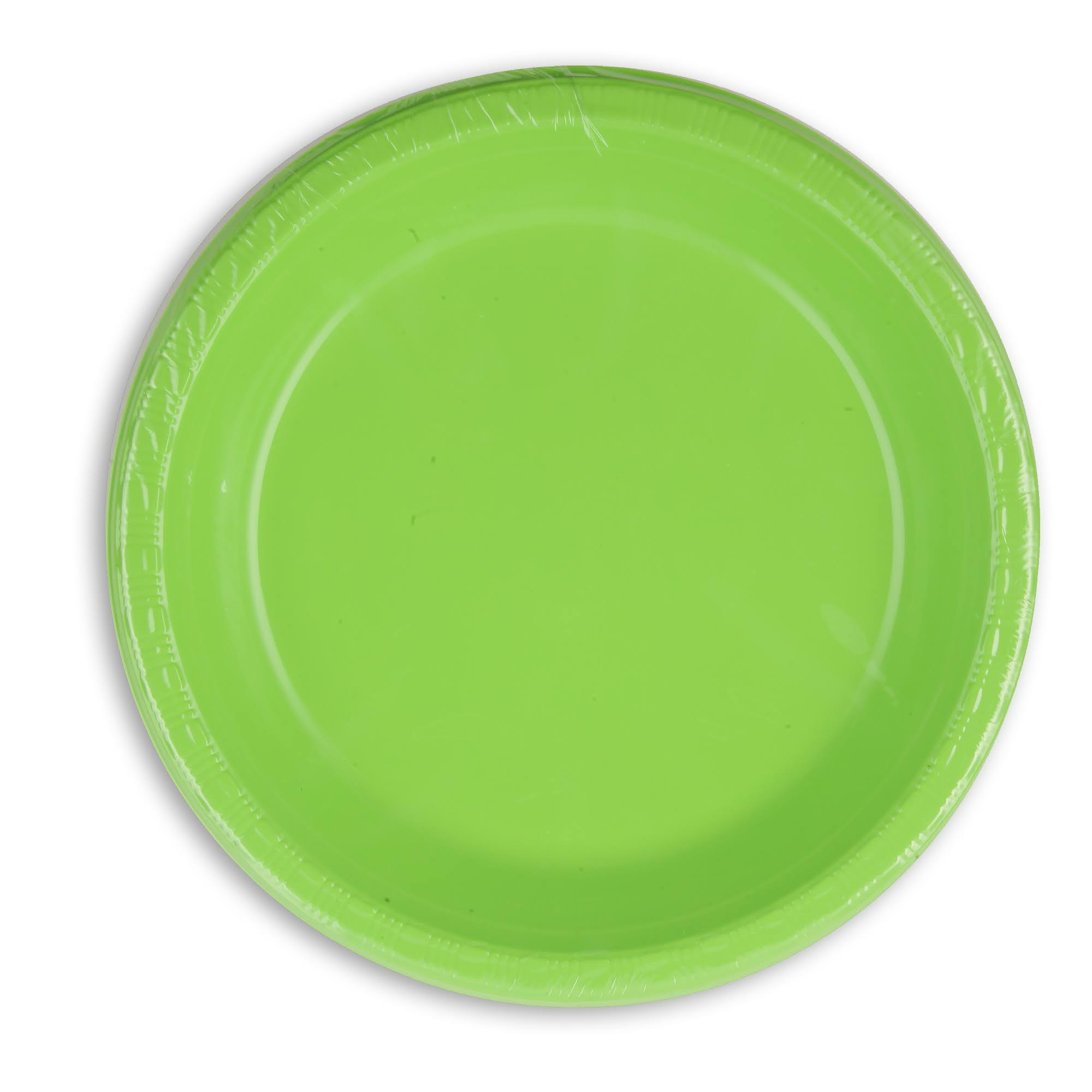 "Touch of Color Heavy Duty Plastic Plates - 10.25"", Fresh lime, 20ct"