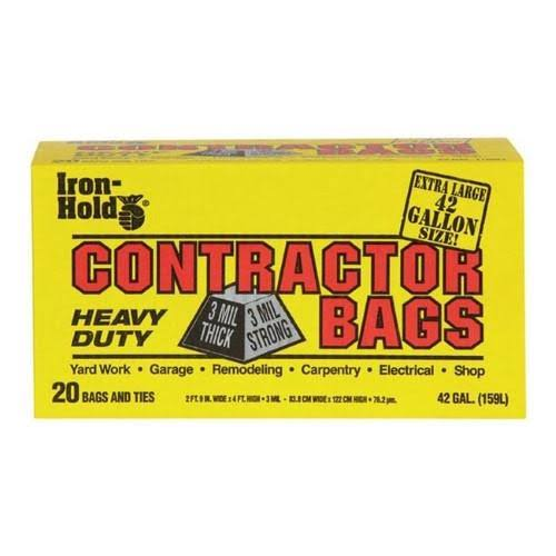 Iron Hold Contractor Bags Twist Ties - 20ct
