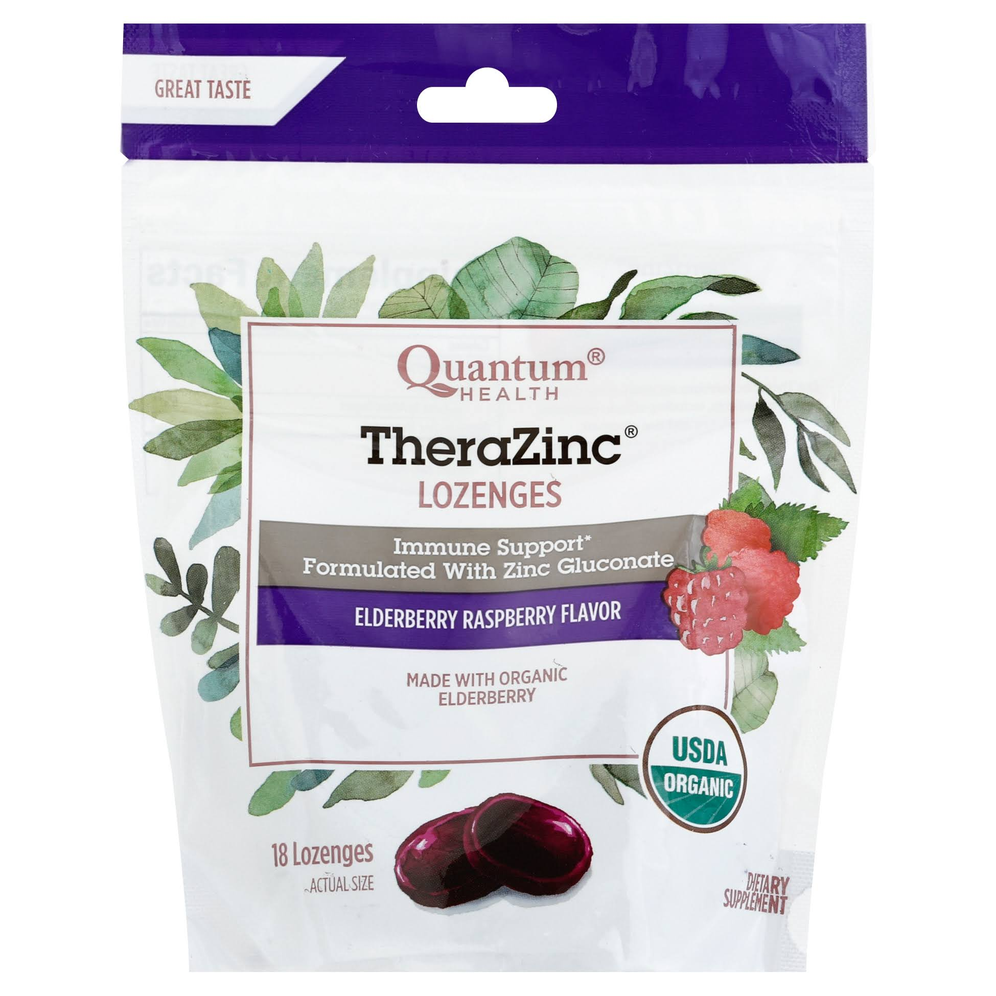 Quantum Thera Zinc Lozenges - Elderberry Raspberry Flavored, 18ct