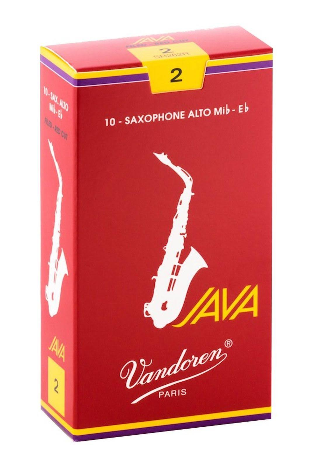 Vandoren SR262R Alto Sax Java Red Reeds Strength 2; Box of 10