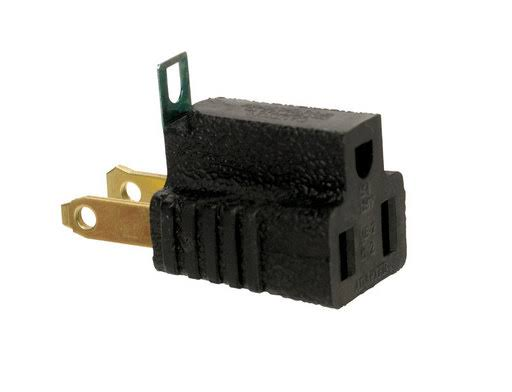 Ace Grounding Adapter - Black, 15A, 125V