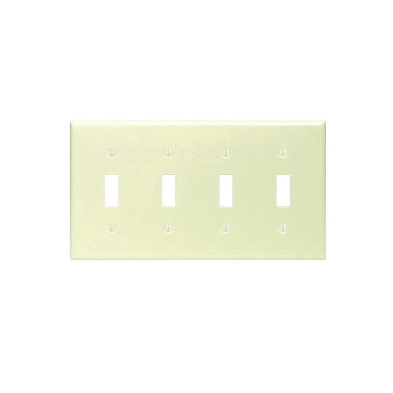 Leviton 4-Gang Toggle Device Switch Wall Plate - Ivory