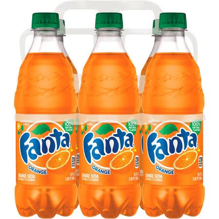 Fanta Soda Bottles - Orange, x6