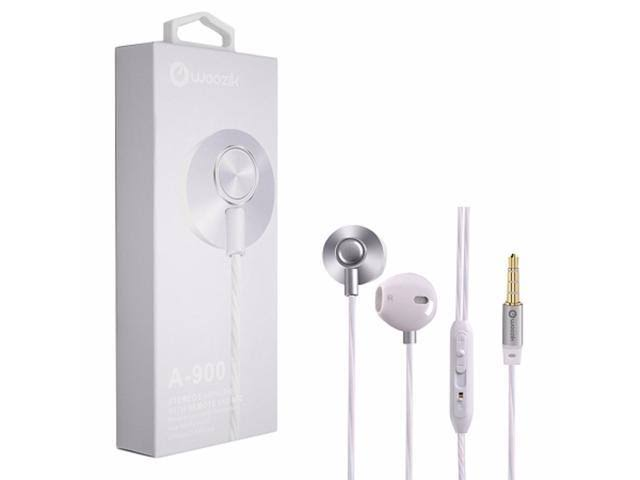 Woozik A900 In-Ear Stereo Earphones w/Built-In Mic and Volume Control (Silver)