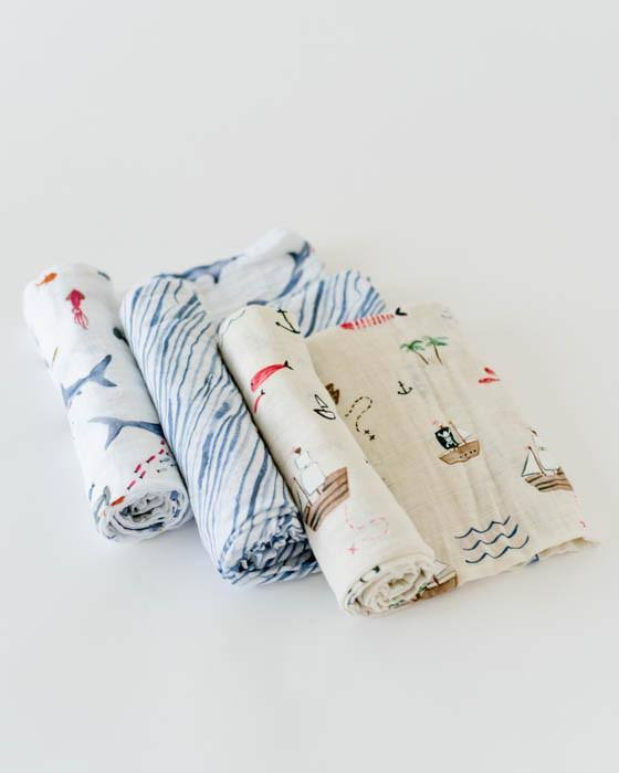 Little Unicorn Cotton Muslin Swaddle Set Shark