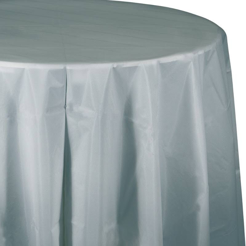 Creative Converting Round Plastic Tablecover - Silver, 83""