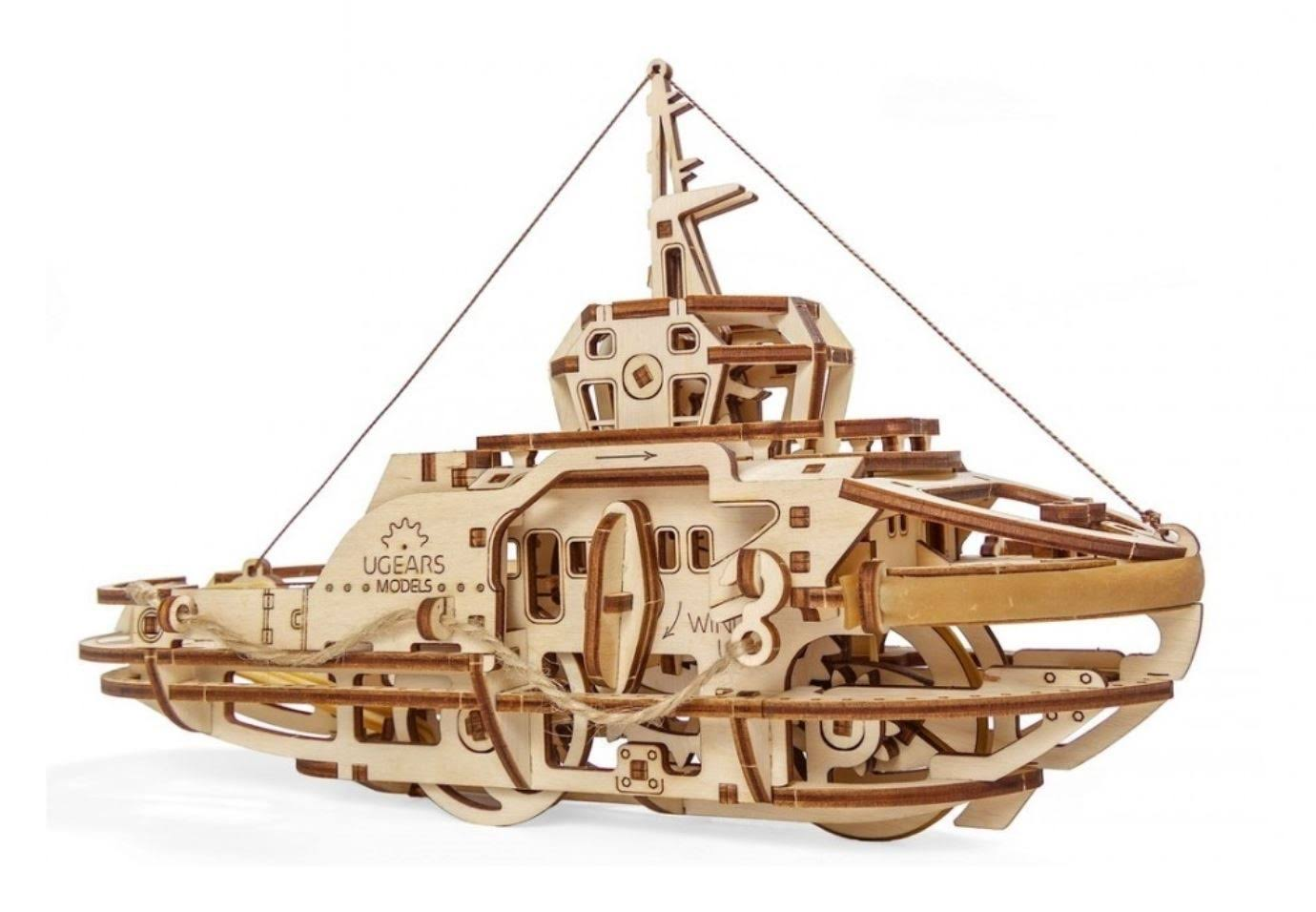 UGEARS Model Tugboat Wooden Kit - U70078 by Hobbies