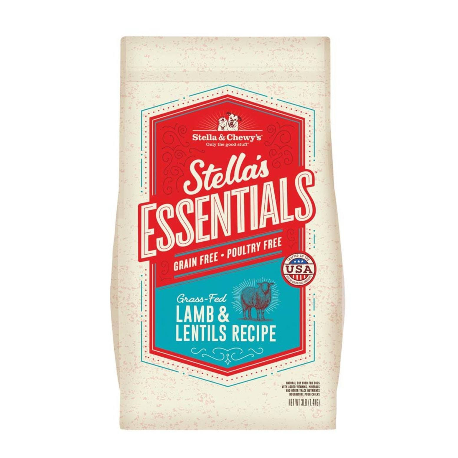 Stella & Chewy's Essentials Grain Free Grass-Fed Lamb & Lentils Dog Food 3-lb