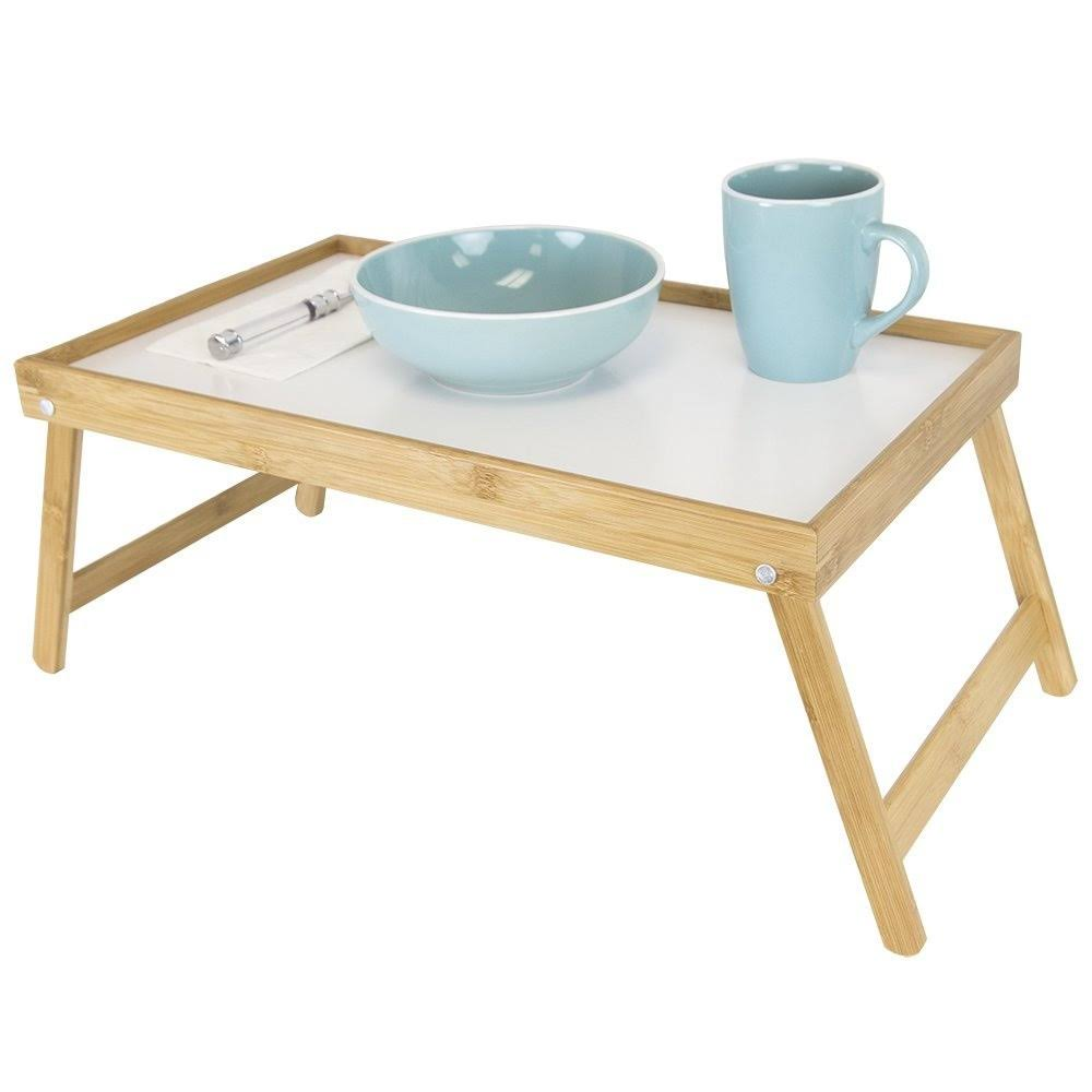 Home Basics Natural Bed Tray and White Surface (Bamboo, Solid)