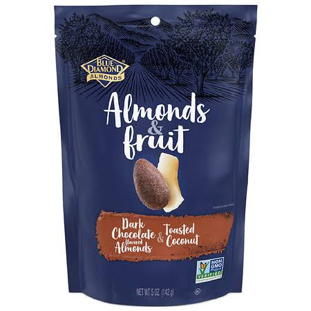 Blue Diamond Almonds Almonds and Fruit Dark Chocolate - Almonds and Toasted Coconut, 5oz