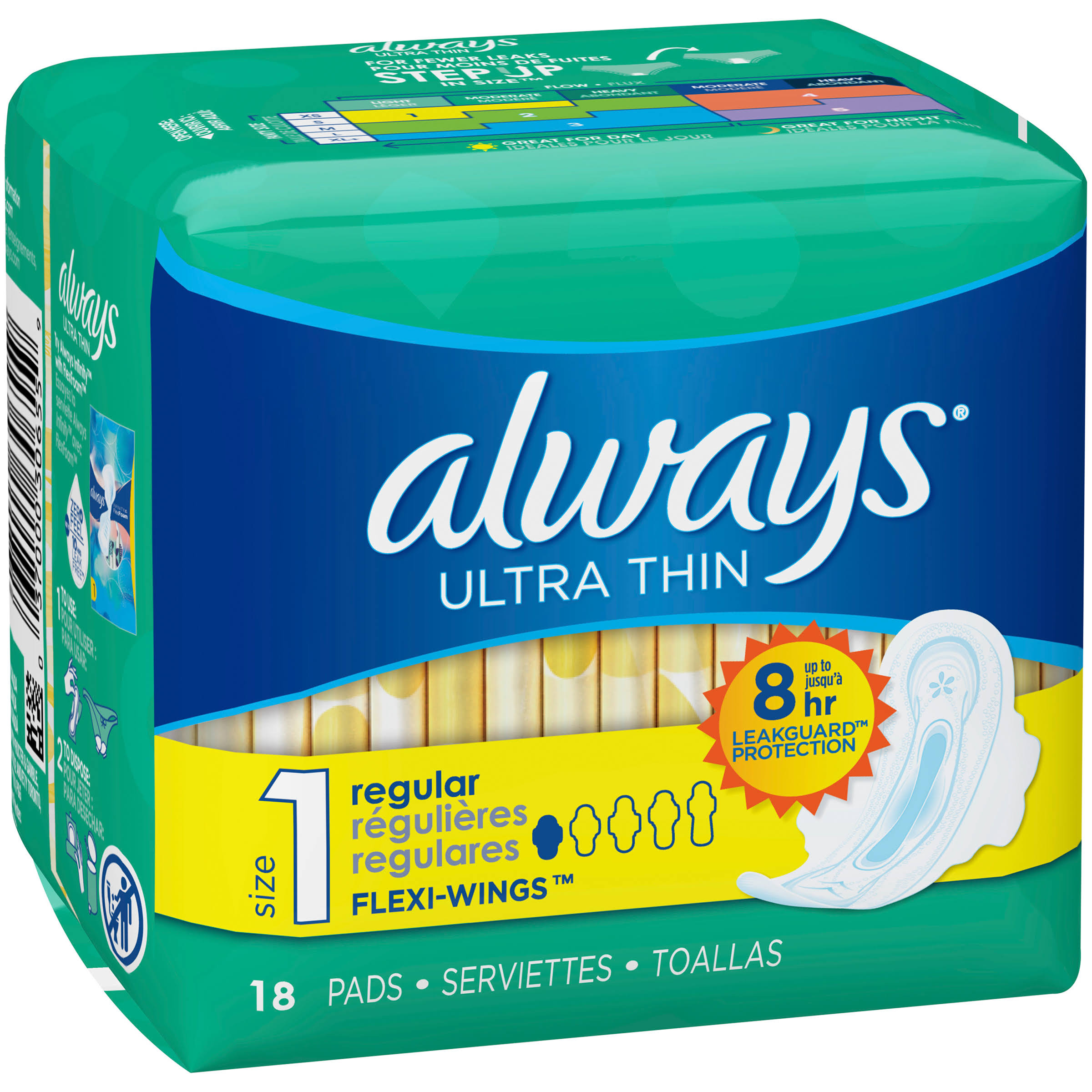 Procter & Gamble Always Ultra Thin Regular Pads - With Wings, 18 Regular Pads