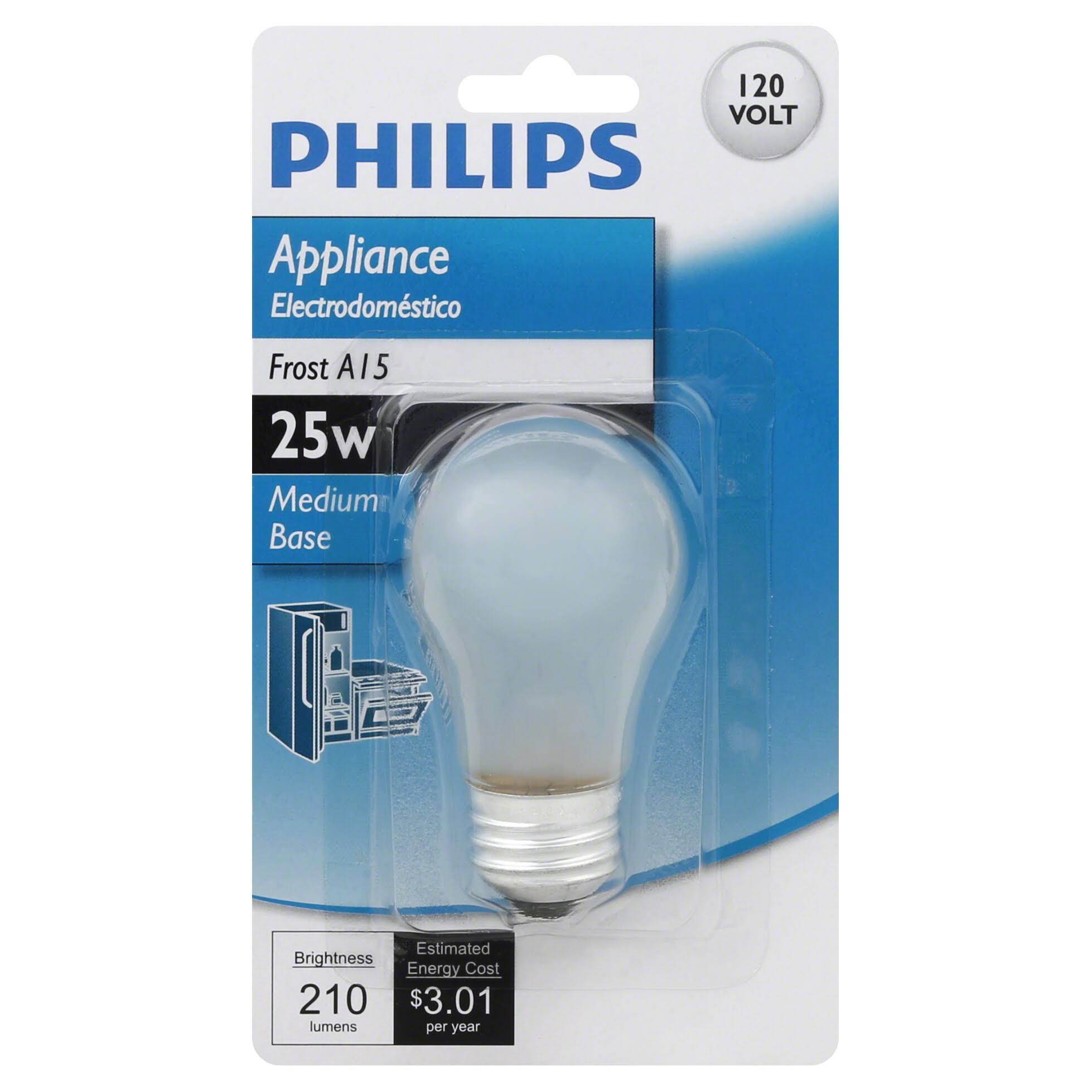 Philips A15 Appliance Light Bulb - Frosted, 25W