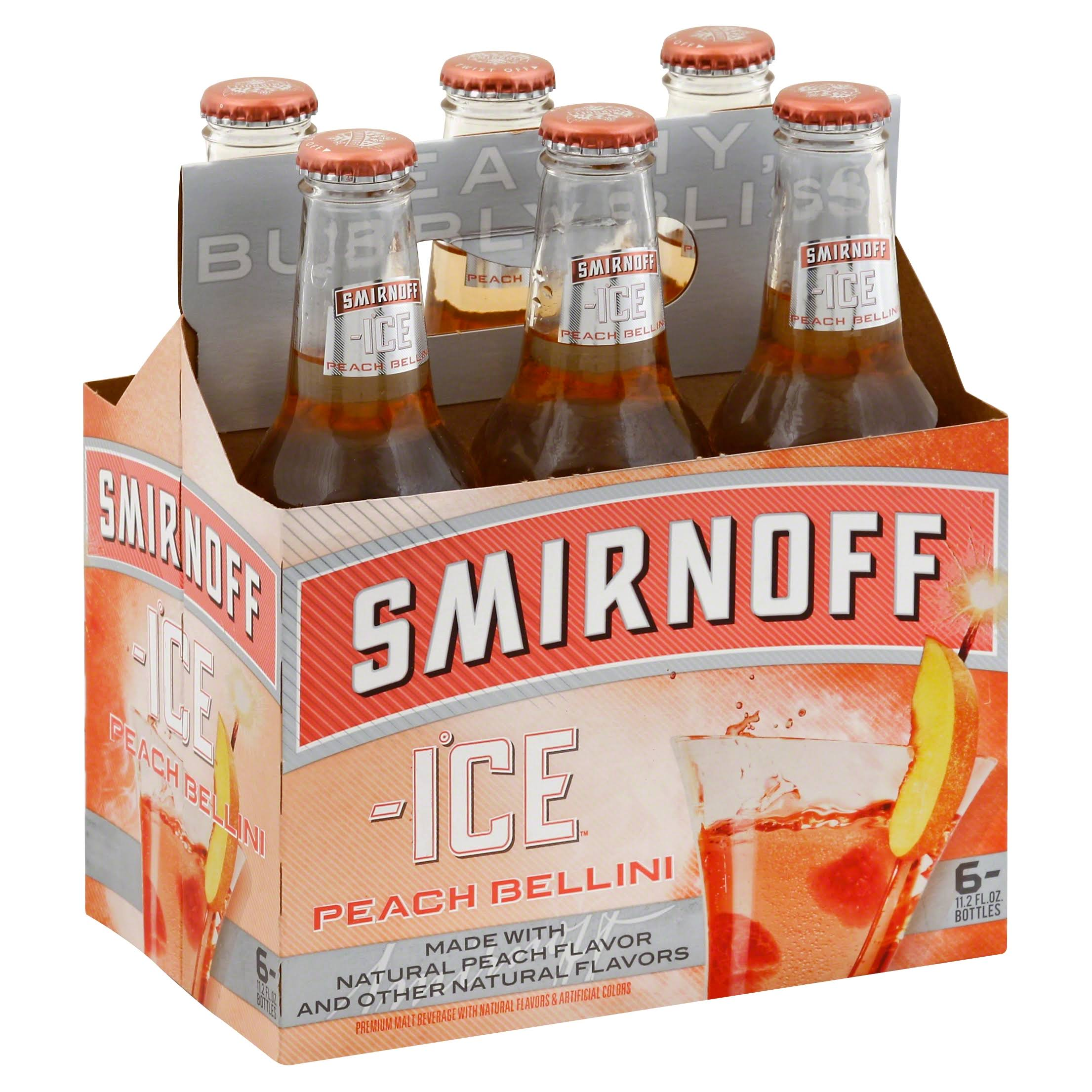 Smirnoff Ice Malt Beverage, Premium, Peach Bellini - 6 pack, 11.2 fl oz bottles