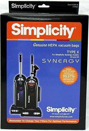 DVC Simplicity Type X Hepa Synergy Vacuum Cleaner Bag - 6 Pack