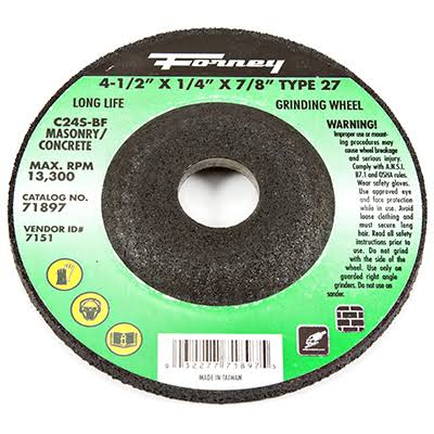 "Forney Grinding Wheel - 4 1/2"" x 1/4"" x 7/8"", Type 27"