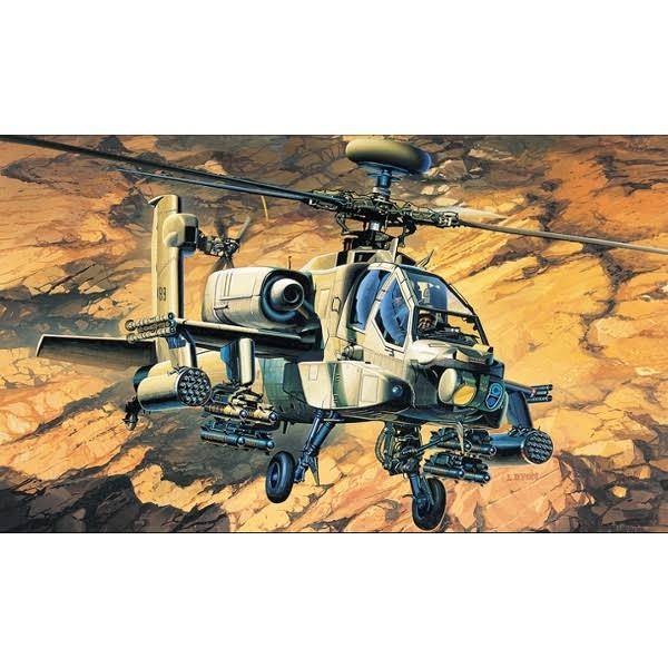 Academy Ah-64a Apache USA Helicopter Model Kit - 1/48 Scale