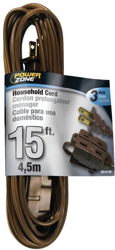 Power Zone Extension Cord - 15ft, Brown