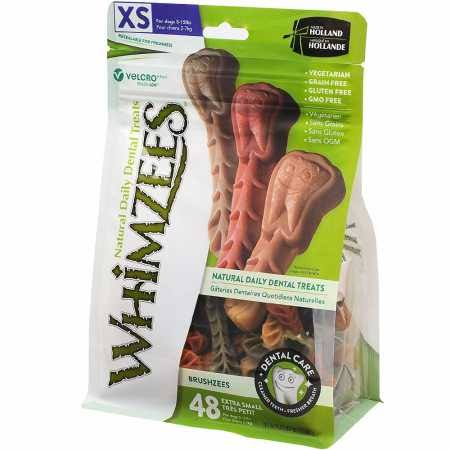 Whimzees Natural Dog Treats - Toothbrush, X-Small, 48 Pack