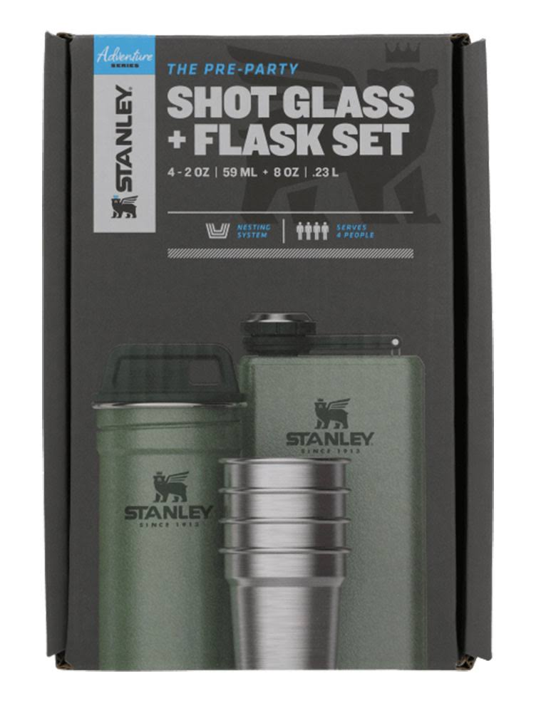 Stanley Adventure Stainless Steel Shots and Flask Set - Hammertone Green