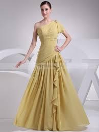one shoulder chiffon prom dress with draped ruffles