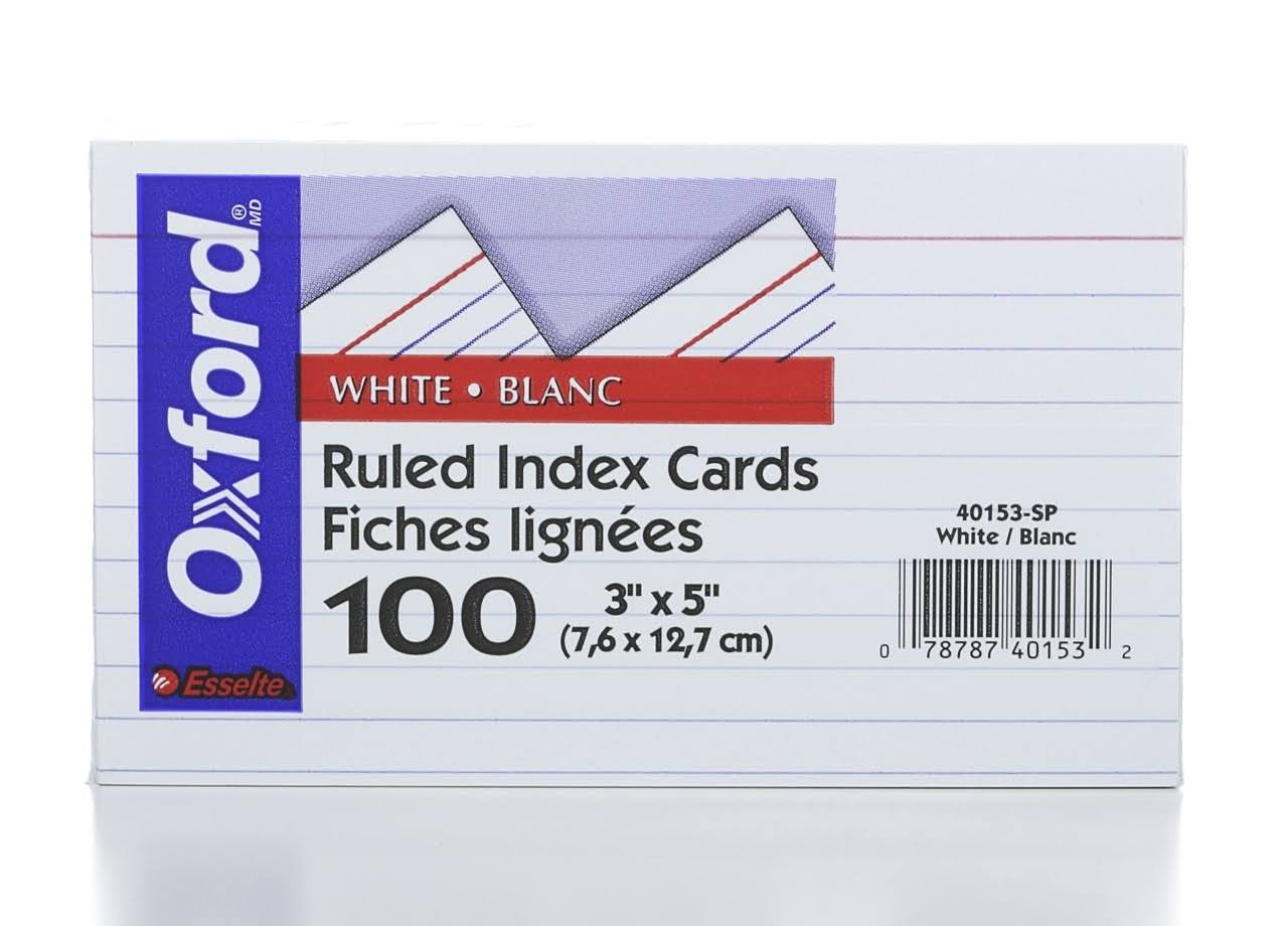 "Esselte Pendaflex Index Cards - White, Ruled, 3""x5"", x100"