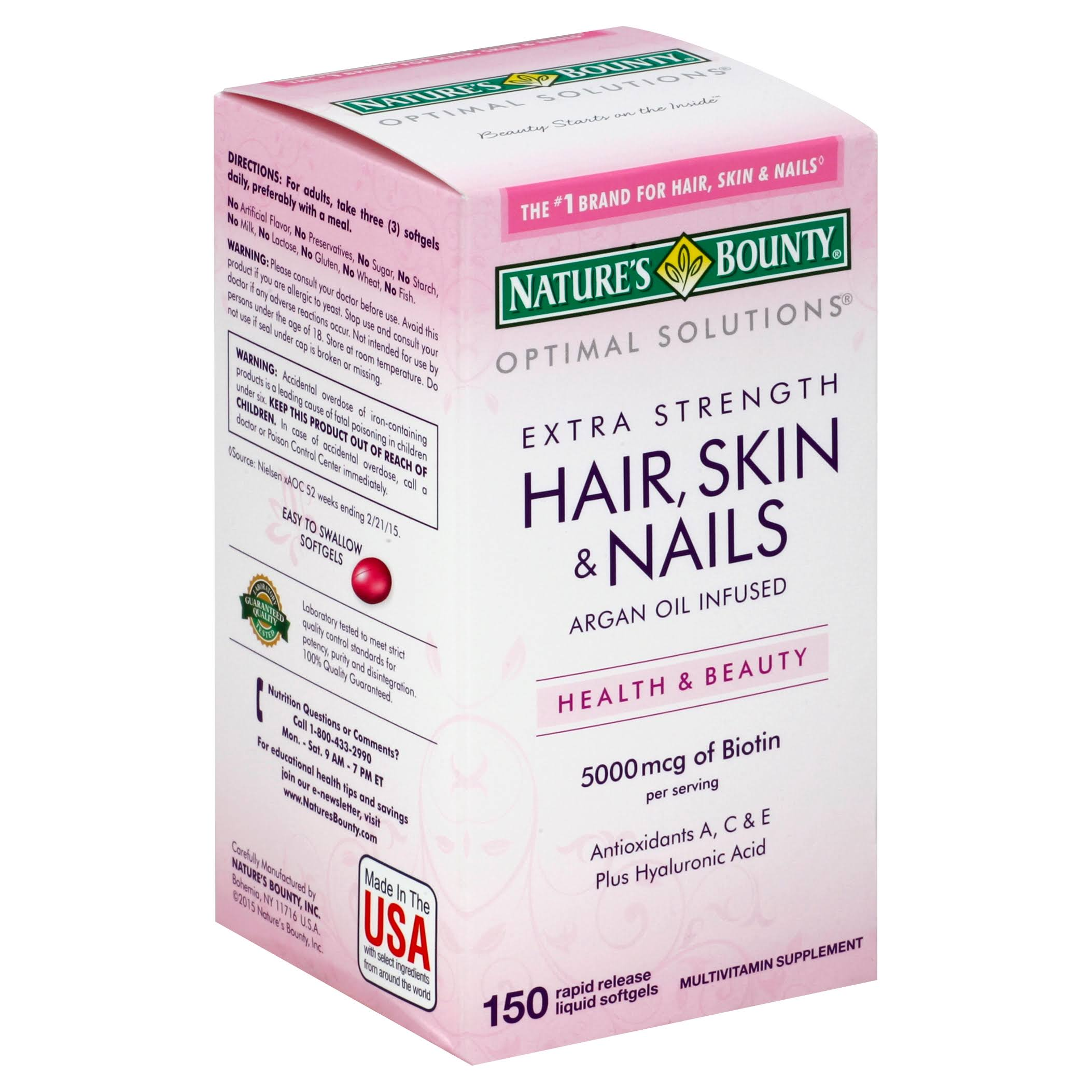 Nature's Bounty Extra Strength Hair Skin Nails Supplement - 150 Count