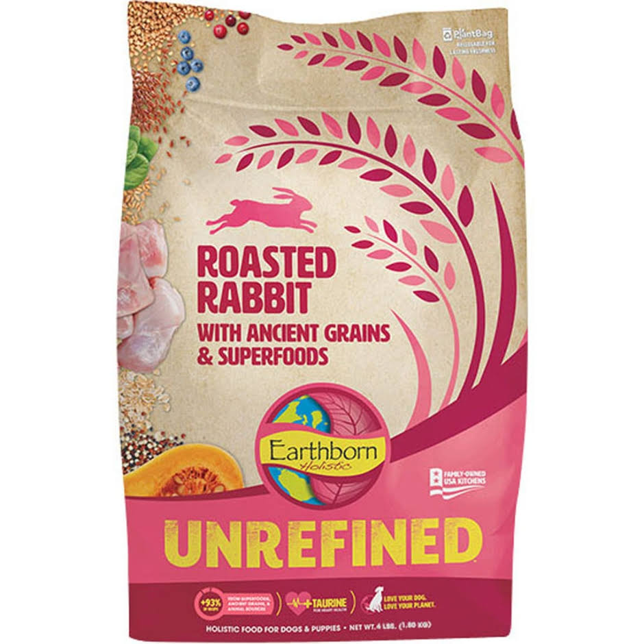 Earthborn Holistic Unrefined Roasted Rabbit with Ancient Grains & Superfoods Dry Dog Food, 4-lb Bag